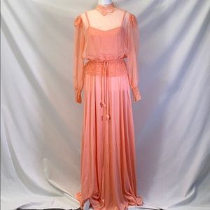Vintage 1970s pastel peach ethereal gown
